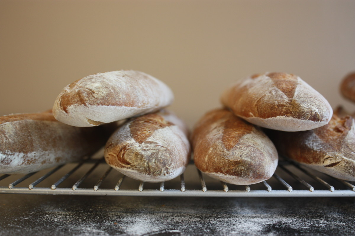 Sourdough baguette frontal low heat