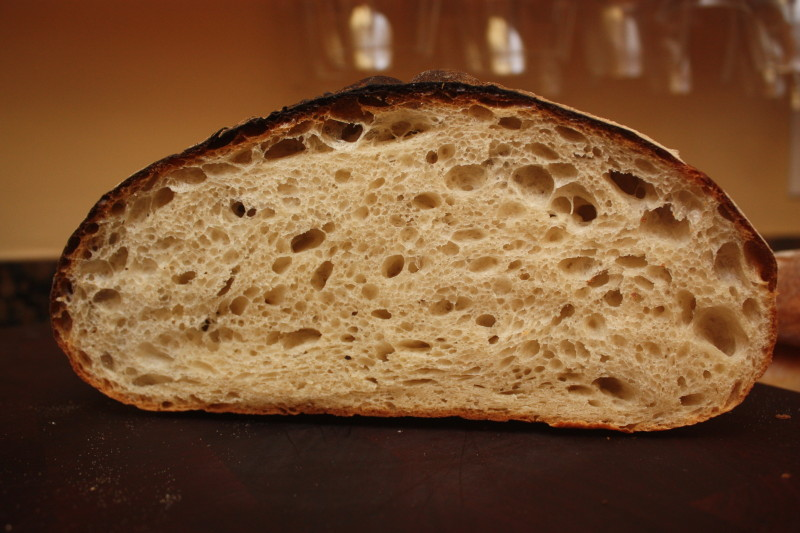 crumb shot of bread in a haussler stone oven