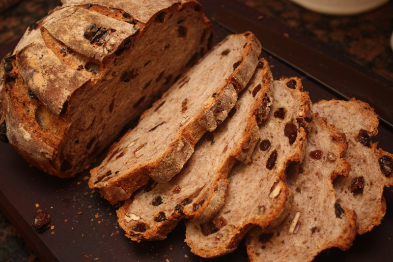 Raisin Pecan Country Loaf Crumb shot from Bread Bible