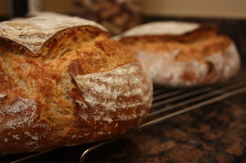 sourdough bread in a combo cooker