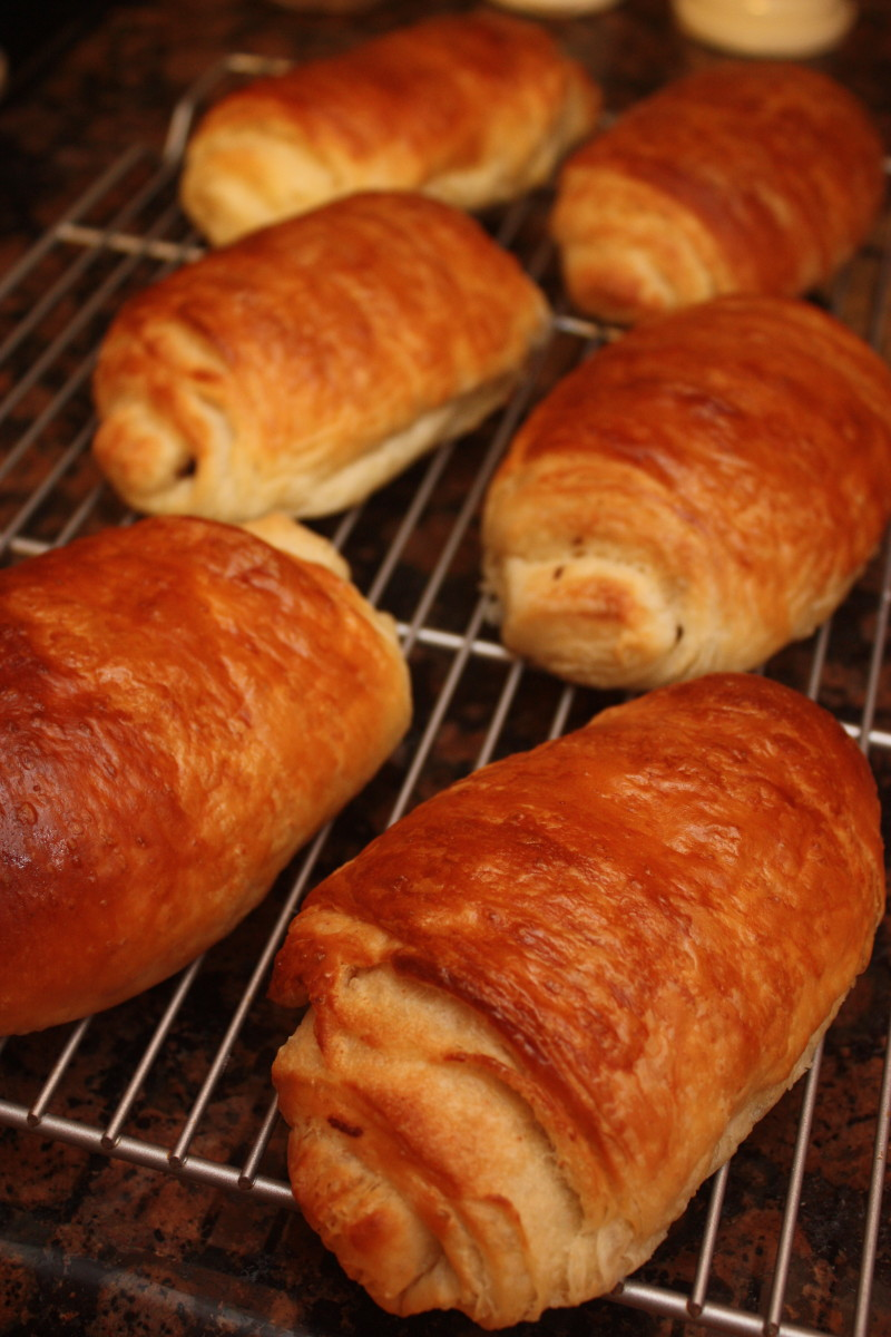 pain au chocolat from the oven
